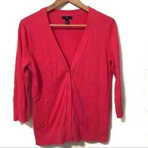 Gap button down Cardigan with 3/4 sleeves coral M